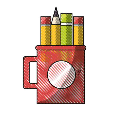 mug with writing tools icon over white background colorful design vector illustration