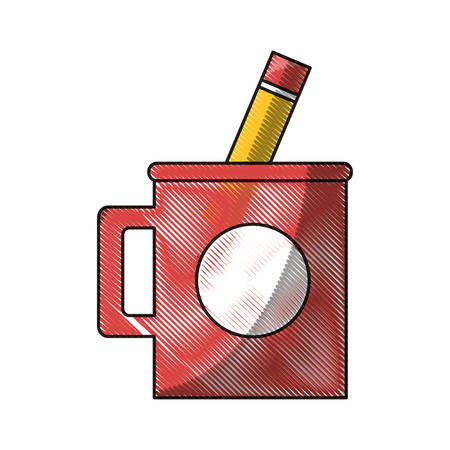 mug with a pencil utensil icon over white background colorful design vector illustration Illustration