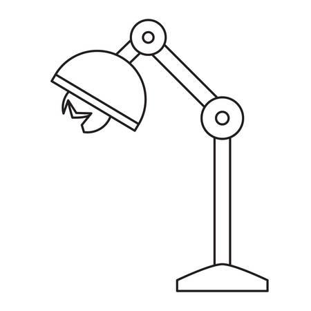 broken desk lamp icon over white background vector illustration