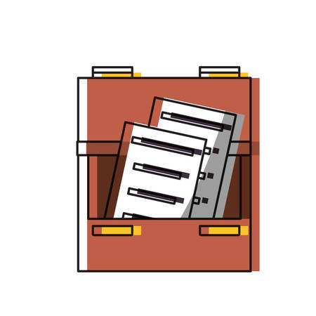drawer with documents pages icon over white background colorful design vector illustration Illustration