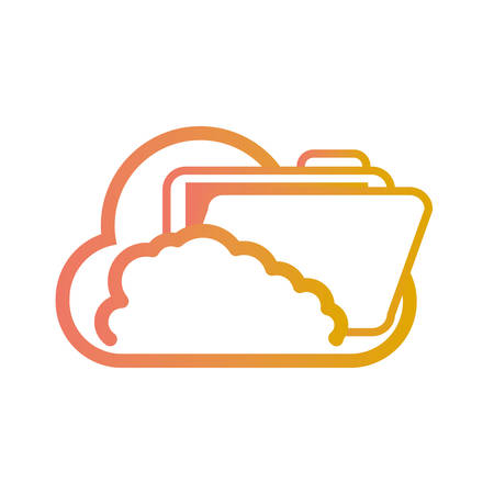 flat line colored cloud with  folder file over white background  vector illustration Illustration