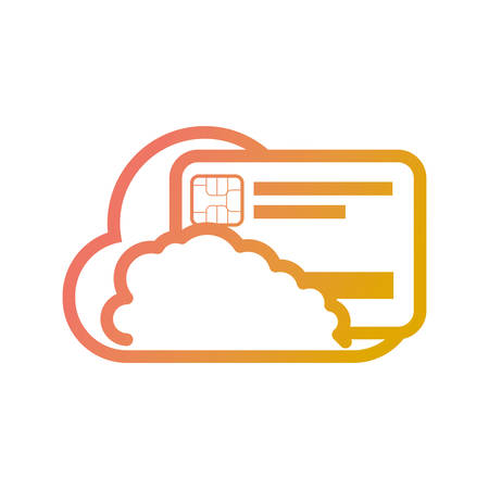 flat line colored  cloud with credit card over white background vector illustration