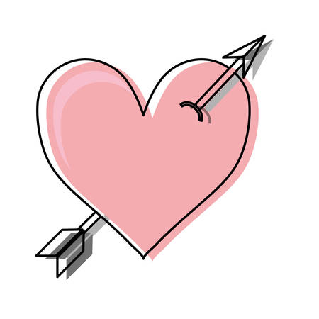 colored  heart with arrow   over white background  vector ilustration