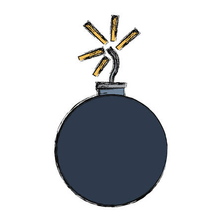 colored   cartoon bomb over white background  vector illustration