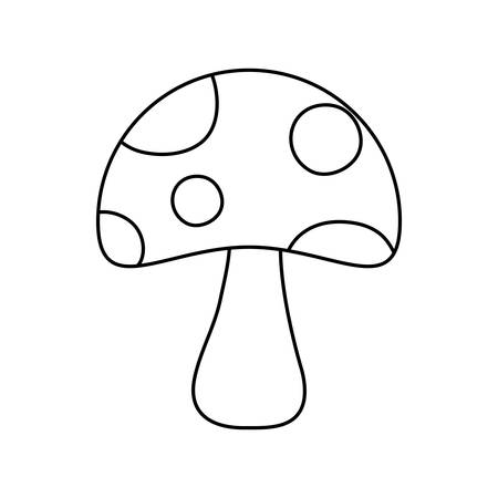 flat line uncolored fungus over  white  background  vector illustration