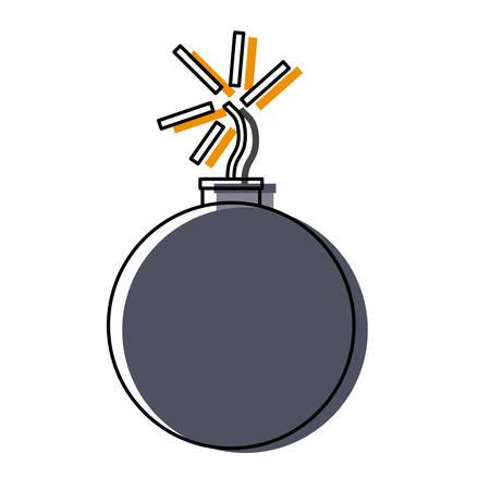 colored   cartoon bomb over white background  vector illustration Illustration