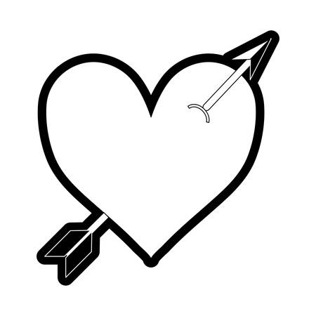 flat line monochromatic heart  with  arrow   over white background  vector ilustration
