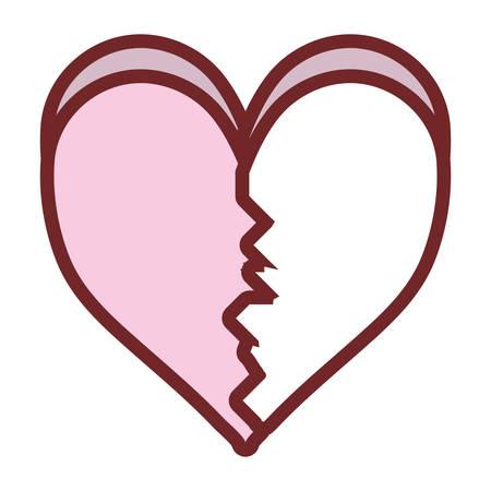 colored  broken  heart    over white background  vector ilustration Illustration
