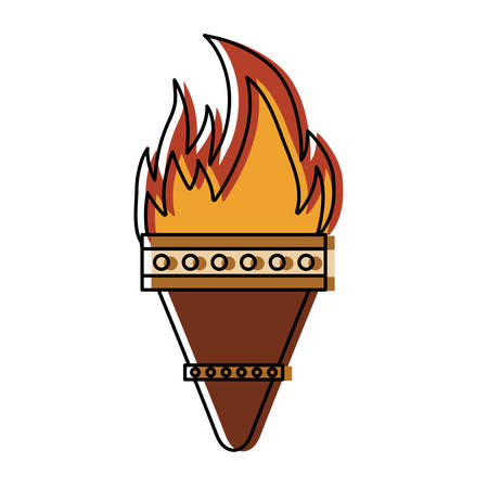 colored torch  over white background  vector illustration