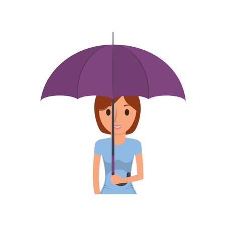 cartoon woman with umbrella icon Illustration