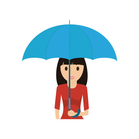 cartoon woman with umbrella icon Illustration
