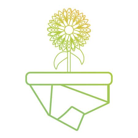 Flat line colored flowerpot over white background vector illustration Çizim
