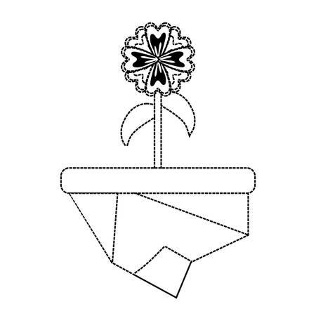 flat line monochromatic flowerpot over white background  vector illustration