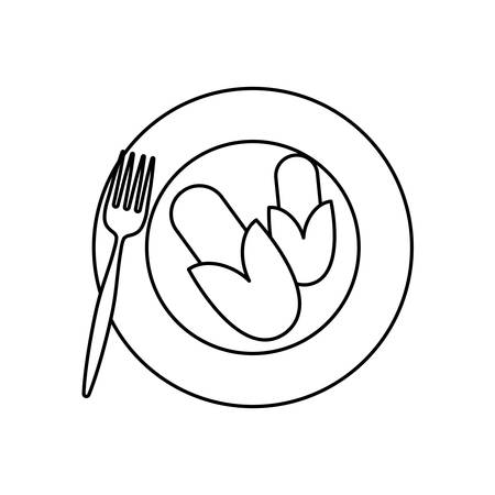Dish with corns icon over white background vector illustration. Иллюстрация