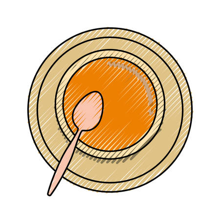soup bowl and spoon icon over white background vector illustration