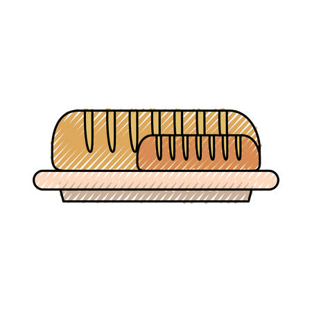 Dish with bread baguettes icon. Illustration