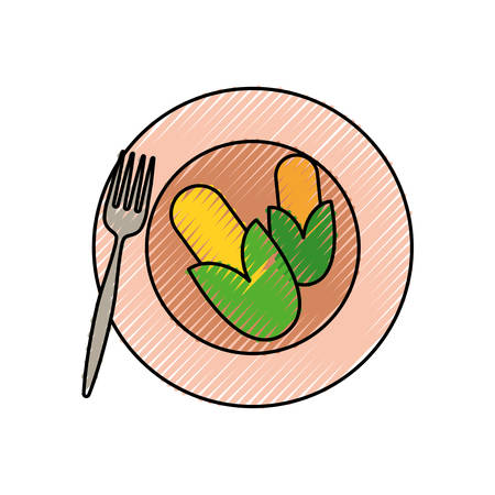 dish with corns icon over white background colorful design vector illustration Illustration