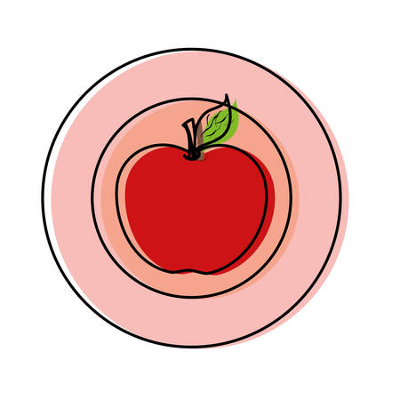 colored plate with  apple over white  background vector illustration