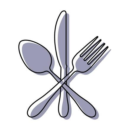 colored  cutlery ove white background  vector illustratio