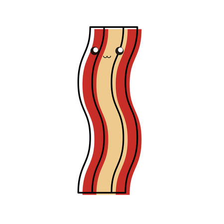 colored bacon over white background vector illustration Illustration