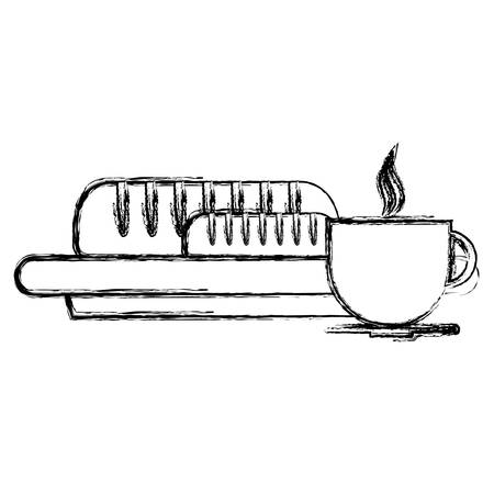 sketch of hot coffee mug and dish with bread baguette icon over white background vector illustration