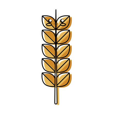 kawaii wheat vector illustration