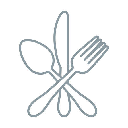 spoon, knife and fork crossed over white background vector illustration