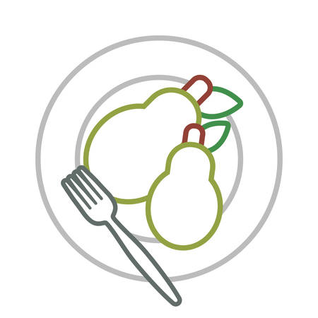 dish with pears icon over white background colorful design vector illustration