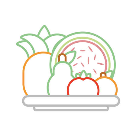 dish with healthy fruits icon over white background colorful deign vector illustration