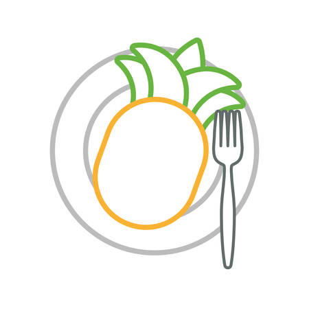 dish with pineapple icon over white background colorful design vector illustration Illustration