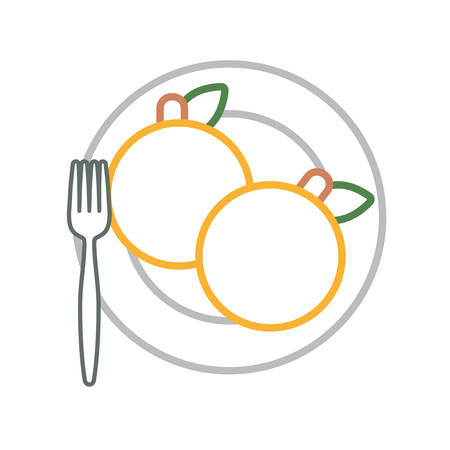 dish with oranges icon over white background vector illustration