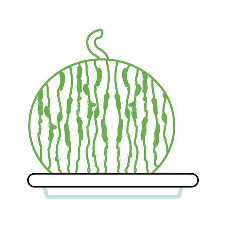 dish with watermelon icon over white background  colorful design vector illustration Illustration
