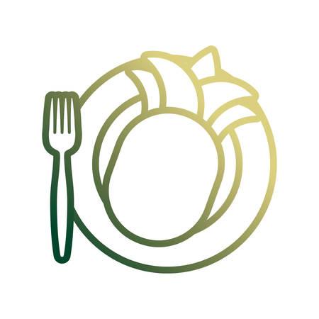 dish with pineapple icon over white background colorful design vector illustration Ilustração