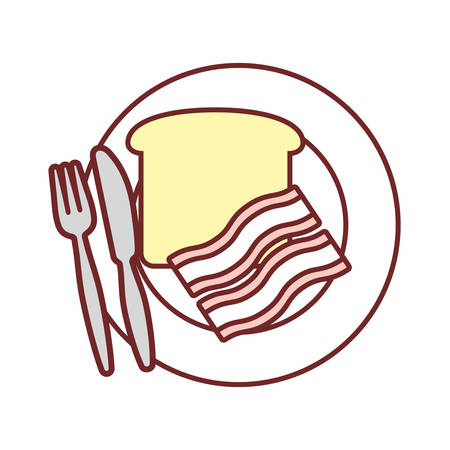 dish with bacon stripes and bread slice icon over white background vector illustration  イラスト・ベクター素材