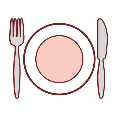 dish with fork and knife icon over white background vector illustrtion