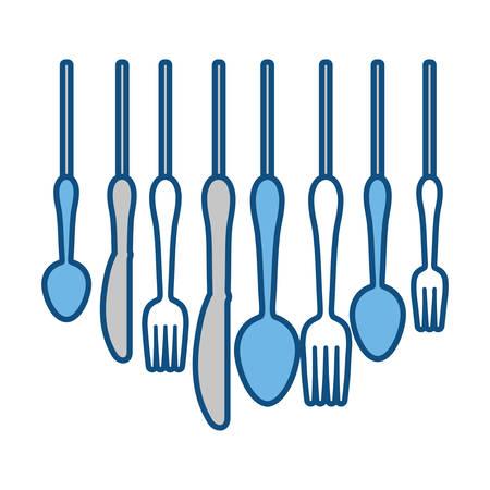 cutlery utensils hangins over white background colorful design vector illustration Illustration
