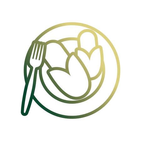 dish with corns icon over white background colorful design vector illustration Ilustração