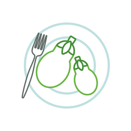 dish with eggplants icon over white background colorful design vector illustration