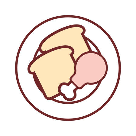 dish with breads and chicken leg icon over white background colorful design vector illustration Illustration