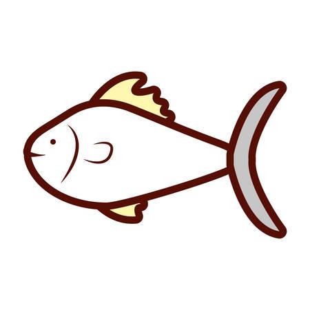 cartoon fish icon over white background colorful design vector illustration Stock Vector - 91048357