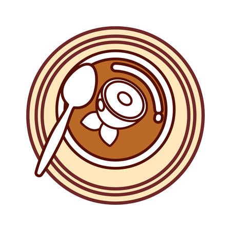 fish soup icon over white background colorful design vector illustration