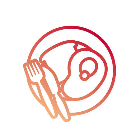 dish with meat steak and bread slice icon over white background colorful design vector illustration