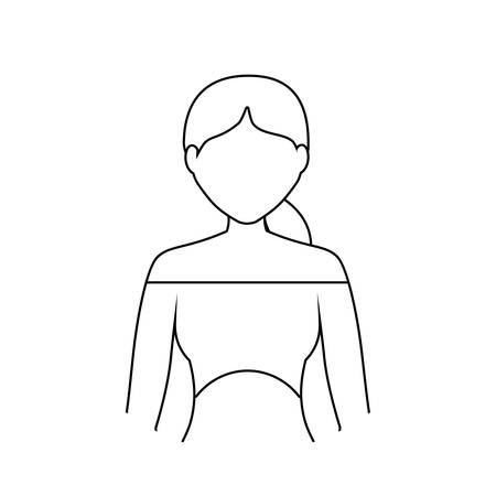 Avatar woman wearing a short blouse icon over white background black and white vector illustration