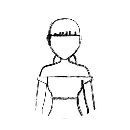 sketch of Avatar woman wearing a short blouse icon over white background vector illustration