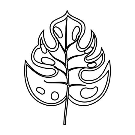 philodendron tropical leaf icon over white background vector illustration Illustration
