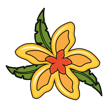 beautiful tropical flower icon over white background  colorful design vector illustration