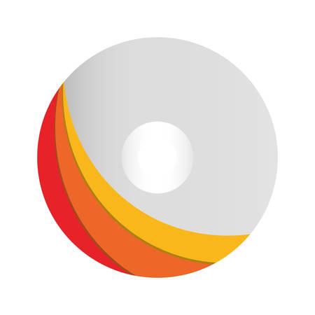 Rom del CD di modello con l'icona variopinta dell'etichetta sopra l'illustrazione bianca di vettore del fondo Archivio Fotografico - 91057006