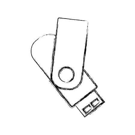 sketch of USB flash drive icon over white background vector illustration