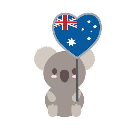 cute koala with australia flag in heart shape over white background colorful design vector illustration