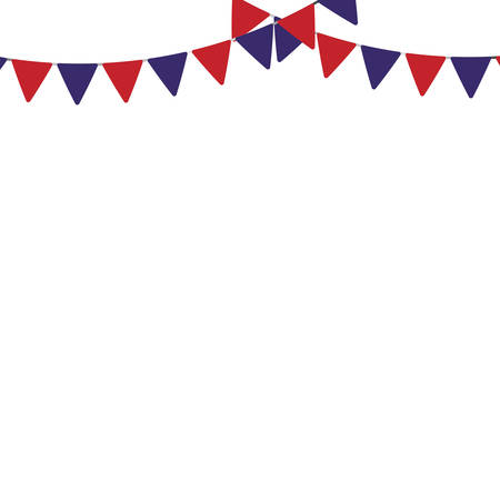 decorative red and blue pennants icon over white background vector illustration